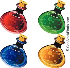 potion - icons of ancient magical drinks in flasks