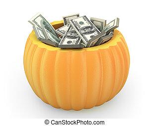 potiron orange, entiers, dollar, paquets