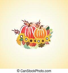 potirons, automne, aquarelle, fleurs, automne, pousse feuilles