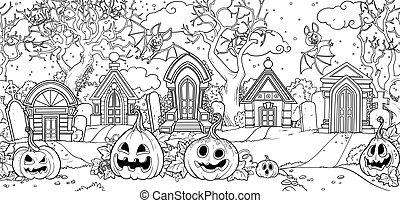 potirons, coloration, chauves-souris, vieux, cimetière, fond...