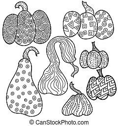 potirons, fantasme, illustration, vecteur, page, coloration, ensemble, contour, motifs