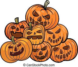 potirons, halloween, dessin animé