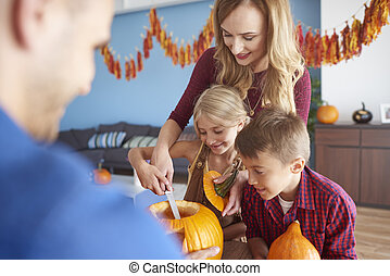 potirons, halloween, famille, fonctionnement