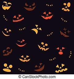 potirons, seamless, halloween, modèle, faces