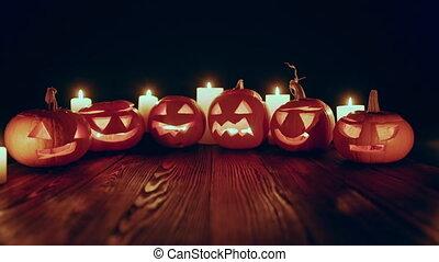 potirons, vidéo, jack-o-latern, bougies, zoom, halloween