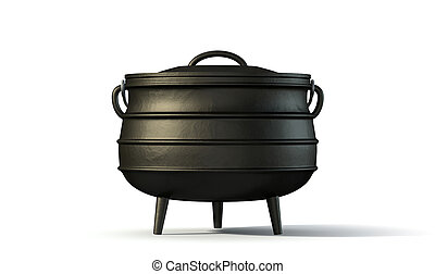 A regular cast iron south african potjie pot with a steel handle and a lid on an isolated background
