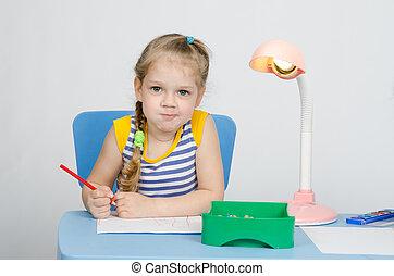 potloden, afbeelding, verlekkeert, gekke , four-year, blik, meisje