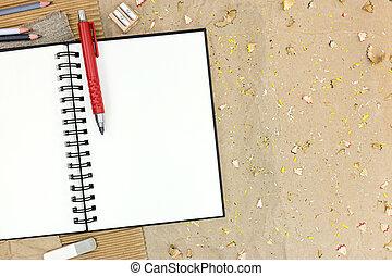 potloden, anders, bruine , notepad, papier, open, lege
