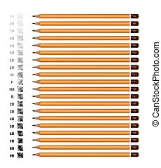 potloden, anders, set, beeld, gele, achtergrond., vector, voorbeelden, stiffness., witte , hardheid
