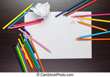 potloden, blad, kleurrijke, proces, creatief, papier, leeg