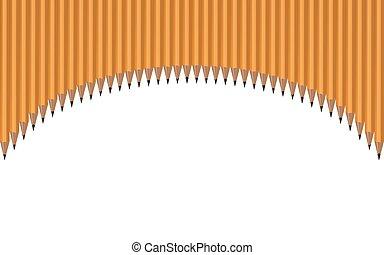 potloden, boog, opgespoorde, illustratie, achtergrond., vector, witte