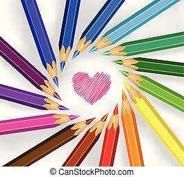 potloden, cirkel, gekleurde, hart