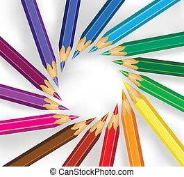 potloden, cirkel, gekleurde