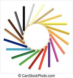 potloden, cirkel, gekleurde, verzamelde