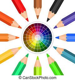 potloden, cirkel, vector, geschikte, gekleurde