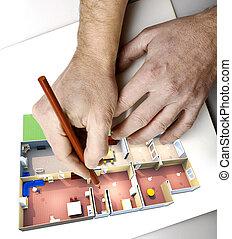 potloden, close-up, wisselbrief, op, handen