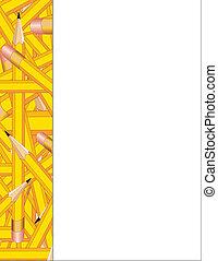 potloden, frame, bovenkant