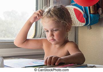 potloden, gedragenene weg, gedachte, trein, tafel, meisje, tekening