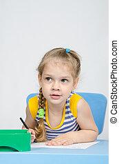 potloden, keek, tafel, meisje, tekening, links
