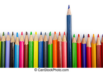 potloden, kleur, concept, creativiteit
