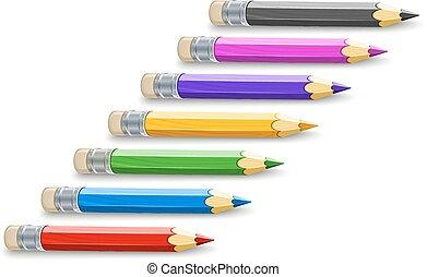 potloden, kleur, set, tekening