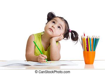 potloden, meisje, dromerig, kind