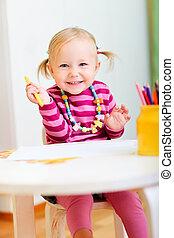 potloden, meisje, toddler, tekening