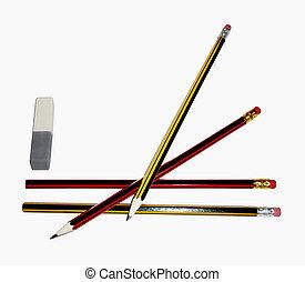 potloden, met, een, gom