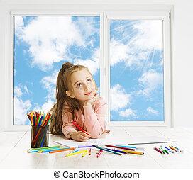 potloden, op, kunst, dromen, denken, kind, inspirerend, creatief, het kijken, venster, meisje, opleiding, tekening, geitje