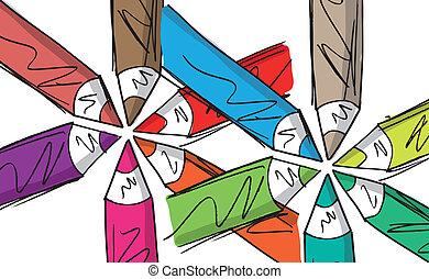 potloden, schets, geschikte, illustratie, vector, circle.