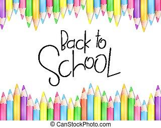 potloden, school, lettering, tekst, back, illustratie, hand, vector, ontwerp, mal, spandoek, gebeurtenis