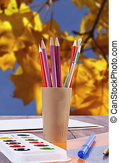 potloden, set, creativiteit, borstels, -, verf