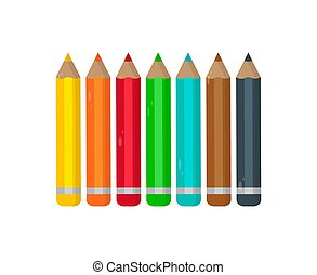 potloden, set, gekleurde, illustratie, achtergrond., vector, witte