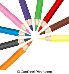 potloden, set, gekleurde