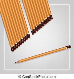 potloden, set, hardness., beeld, gele, achtergrond., vector, gevarieerd, witte