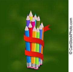 potloden, set, kleurrijke, lint
