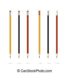 potloden, set, vrijstaand, illustratie, vector, gevarieerd, achtergrond, kleuren, witte