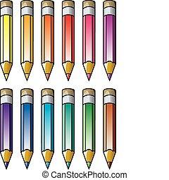 potloden, vector, kleurrijke, clipart