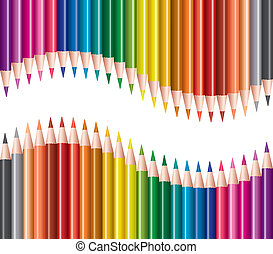 potloden, vector, set, gekleurde