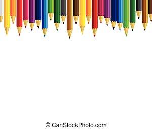 potloden, witte , set, achtergrond kleurde