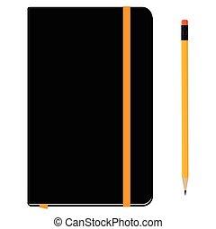 potlood, aantekenboekje, moleskin