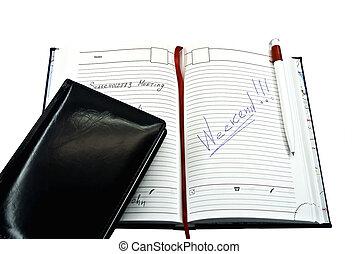 potlood, aantekenboekje