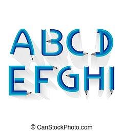 potlood, alfabet