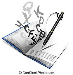 potlood, boek, of, aantekenboekje