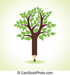 potlood, concept, boompje, maken, -, ecologie