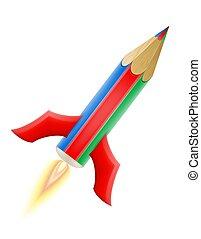 potlood, concept, kunst, raket, illustratie, creatief, vector