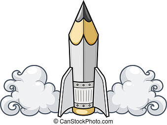 potlood, concept, raket, creatief