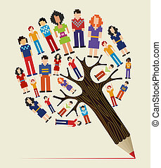 potlood, concept, verscheidenheid, boompje, mensen