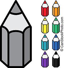 potlood, eenvoudig, -, kleur, vector, achtergrond, witte