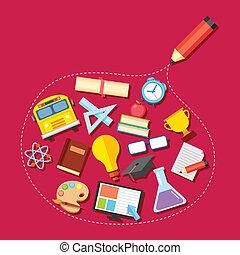 potlood, geschetste, opleiding, pictogram